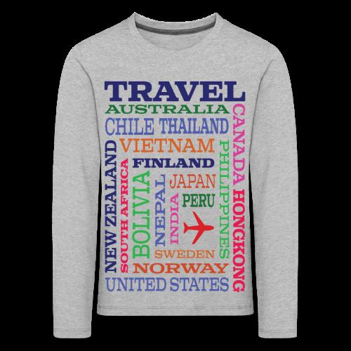 Travel Places design - Lasten premium pitkähihainen t-paita
