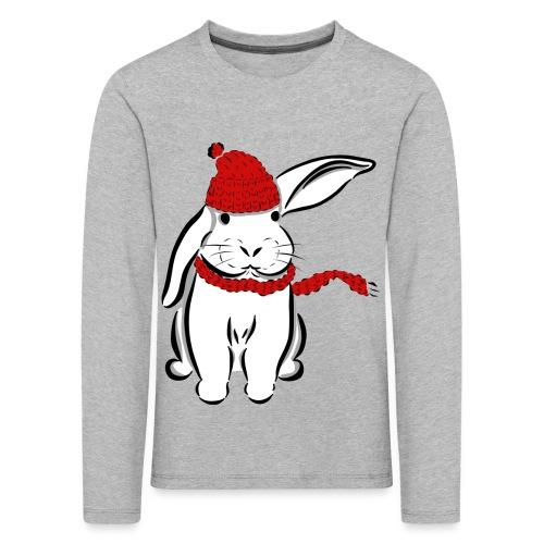 Kaninchen Hase Mütze Schal Schlappohr Schneehase - Kinder Premium Langarmshirt