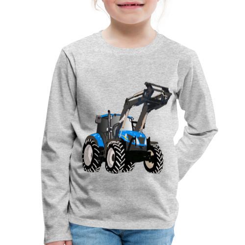 Blauer Traktor mit Frontlader - Kinder Premium Langarmshirt