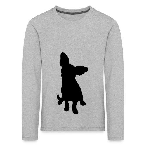 Chihuahua istuva musta - Lasten premium pitkähihainen t-paita
