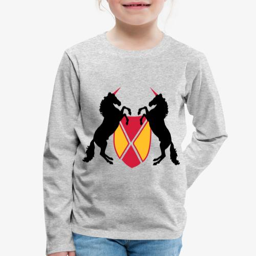 Unicorn Heraldry fantasy shield by patjila - Kids' Premium Longsleeve Shirt