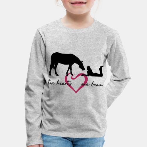 two hearts one dream liegendes Mädchen Pferd - Kinder Premium Langarmshirt