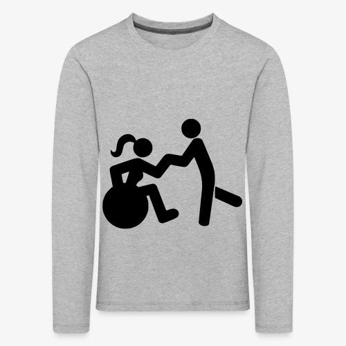 Afbeelding van vrouw in rolstoel die danst met man - Kinderen Premium shirt met lange mouwen