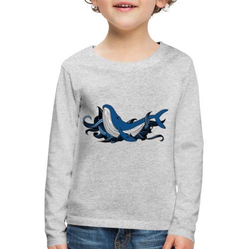 Doodle ink Whale - Maglietta Premium a manica lunga per bambini