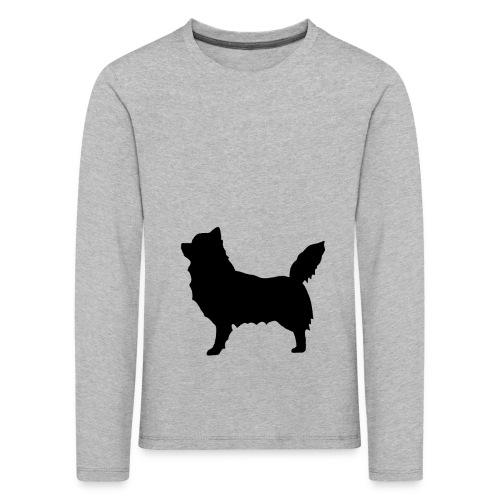 Chihuahua pitkakarva musta - Lasten premium pitkähihainen t-paita