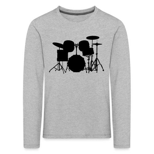 Drumset 1 Kontur schwarz - Kinder Premium Langarmshirt