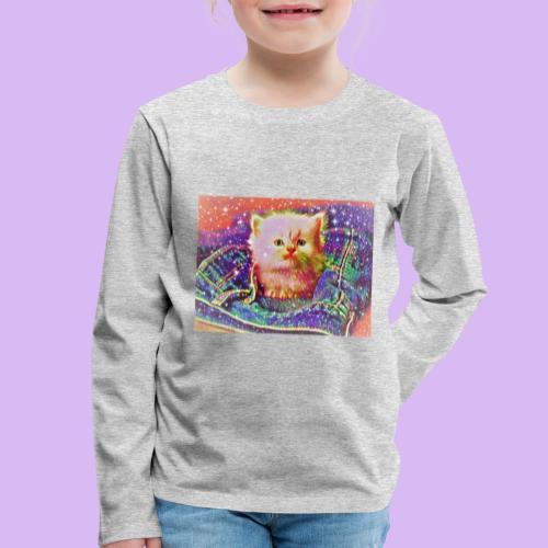 Gattino scintillante nella tasca dei jeans - Maglietta Premium a manica lunga per bambini