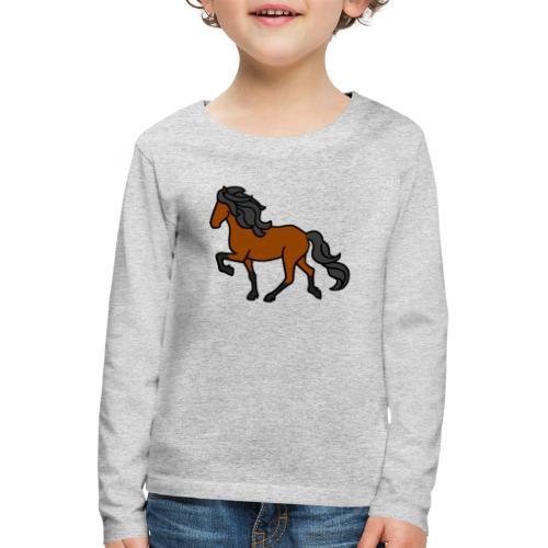 Islandpferd, Brauner, heller - Kinder Premium Langarmshirt