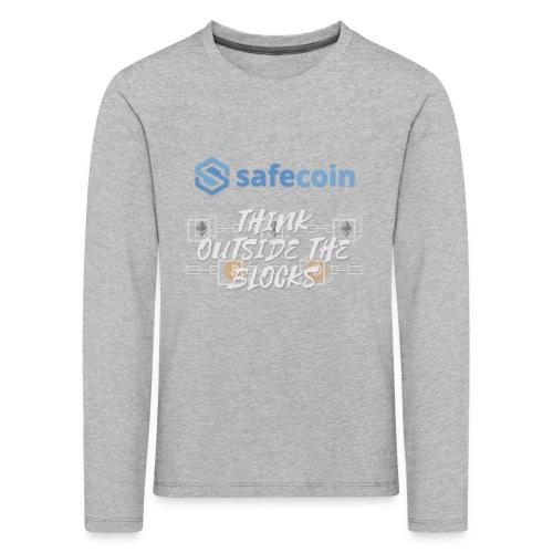 SafeCoin; Think Outside the Blocks (blue + white) - Kids' Premium Longsleeve Shirt