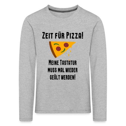 Pizza Essen Tastatur Computer Freak Nerd Spruch - Kinder Premium Langarmshirt