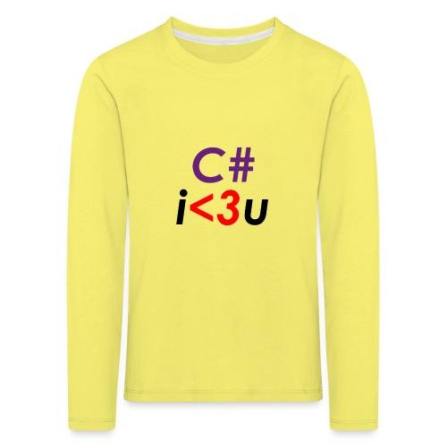 C# is love - Maglietta Premium a manica lunga per bambini