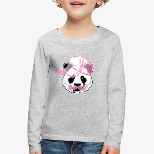 Panda - Pink - Cap - Mustache - Kinder Premium Langarmshirt