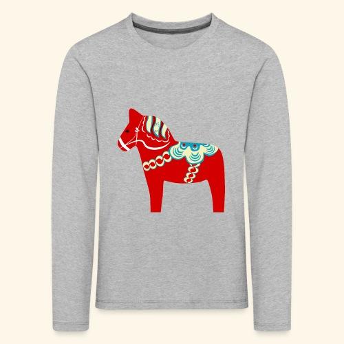 Röd dalahäst - Långärmad premium-T-shirt barn