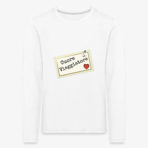 CUORE VIAGGIATORE Scritta con aeroplanino e cuore - Maglietta Premium a manica lunga per bambini