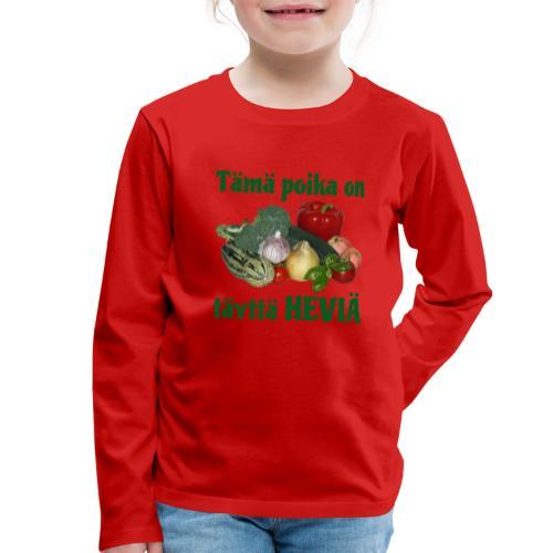 Poika täyttä heviä - Lasten premium pitkähihainen t-paita