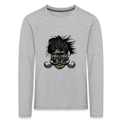 hipster skull tete de mort crane barbu moustache - T-shirt manches longues Premium Enfant