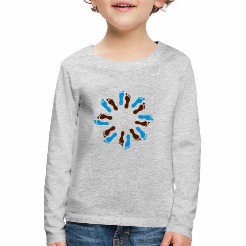 Barfuß-Kreis blau-braun - Kinder Premium Langarmshirt