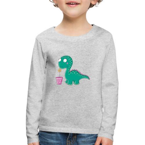 Kleiner Dinosaurier mit Blumentopf - Kinder Premium Langarmshirt