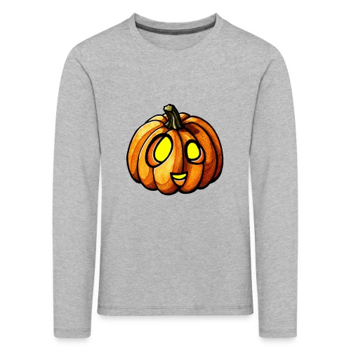 Pumpkin Halloween watercolor scribblesirii - Børne premium T-shirt med lange ærmer