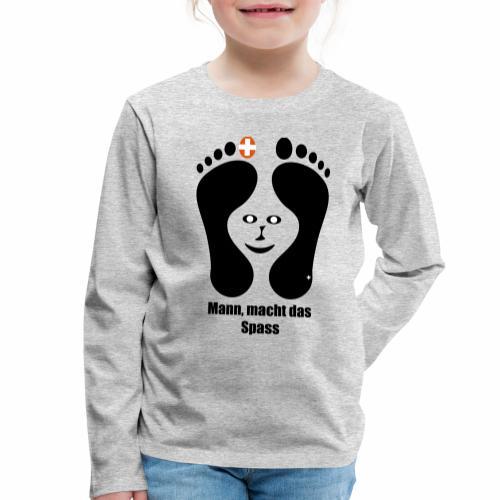 Barfuss-Logo das macht Spass mit Gesicht - Kinder Premium Langarmshirt