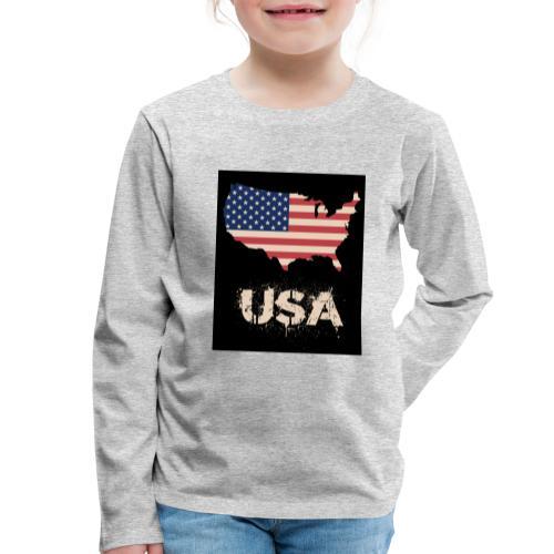USA FLAG 4th of July With Flag - Långärmad premium-T-shirt barn