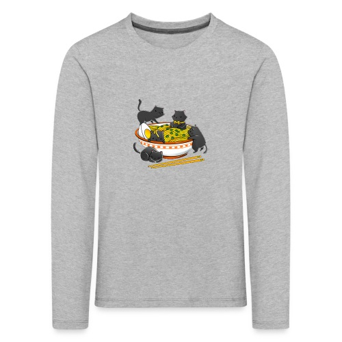 Kawaii Vintage Style Japenese Ramen Cat - Kids' Premium Longsleeve Shirt