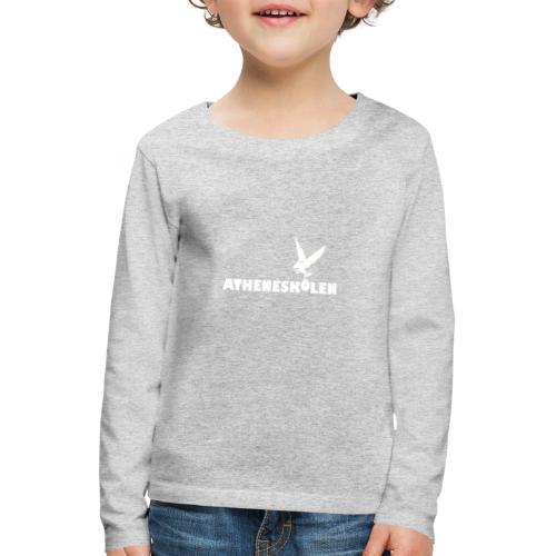 Hvidt logo - Børne premium T-shirt med lange ærmer