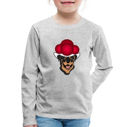 Rottweiler mit rotem Bollenhut - Kinder Premium Langarmshirt