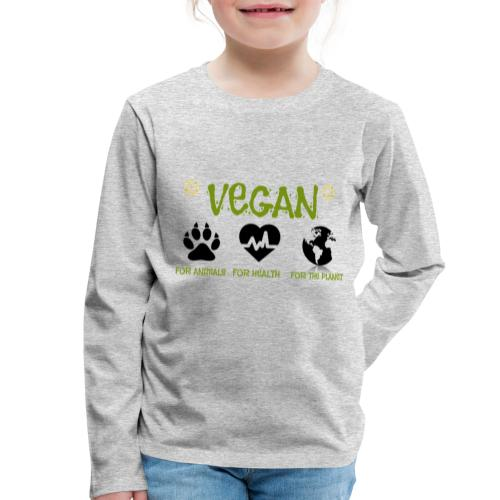 Vegan for animals, health and the environment. - Camiseta de manga larga premium niño
