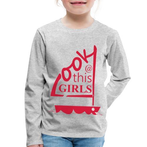 AndriesBik look thisGIRLS shirt witteletters - Kinderen Premium shirt met lange mouwen