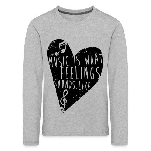 Music is feelings - Børne premium T-shirt med lange ærmer