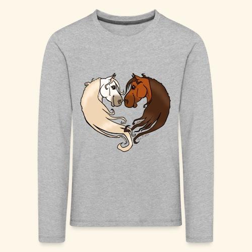 Chevaux amoureux bai-gris - T-shirt manches longues Premium Enfant