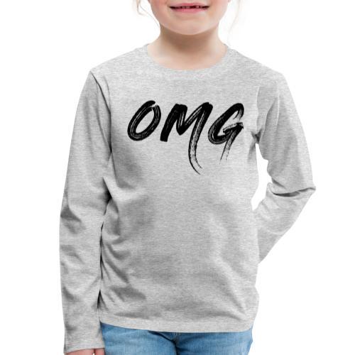 OMG, musta - Lasten premium pitkähihainen t-paita