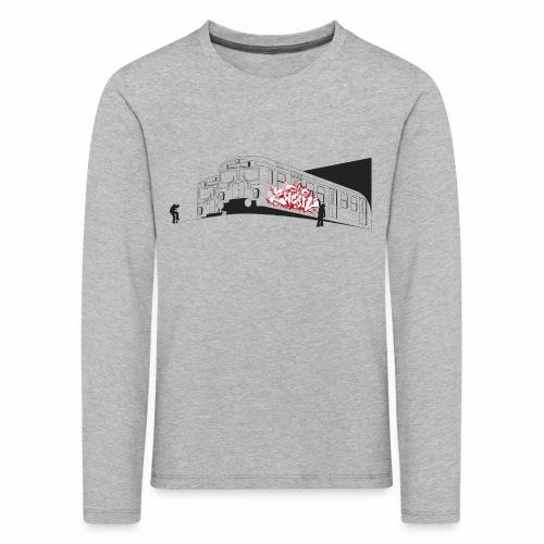Throw up 2wear graffiti trains ver02 1 - Børne premium T-shirt med lange ærmer