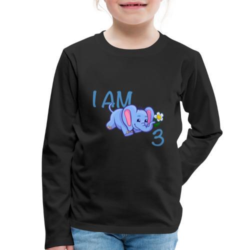 I am 3 - elephant blue - Kids' Premium Longsleeve Shirt