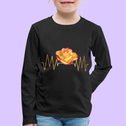 Rose, Herzschlag, Rosen, Blume, Herz, Frequenz - Kinder Premium Langarmshirt