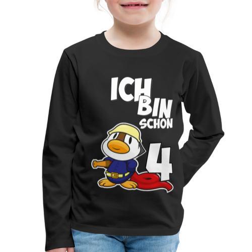 Stolze Feuerwehr Ente 4. Geburtstag Jungen Mädchen - Kinder Premium Langarmshirt
