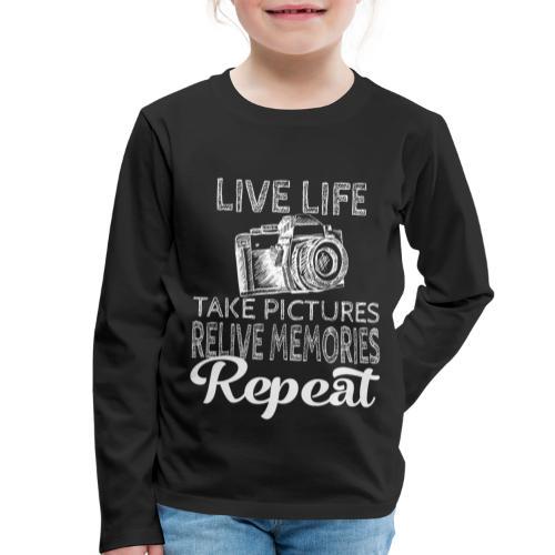 Take Pictures Skizzierter Fotoapparat Fotografie - Kinder Premium Langarmshirt
