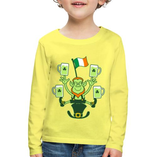 Leprechaun Juggling Beers and Irish Flag - Kids' Premium Longsleeve Shirt