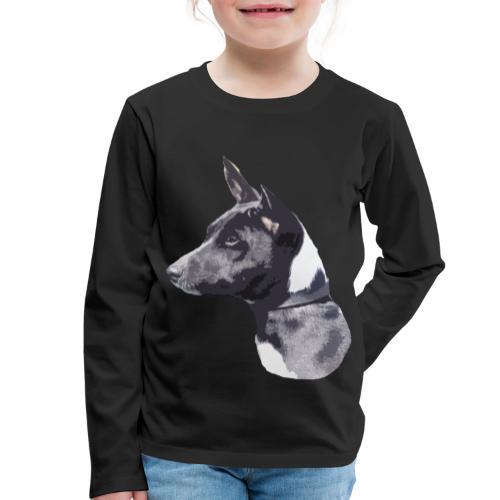 basenji black - Børne premium T-shirt med lange ærmer