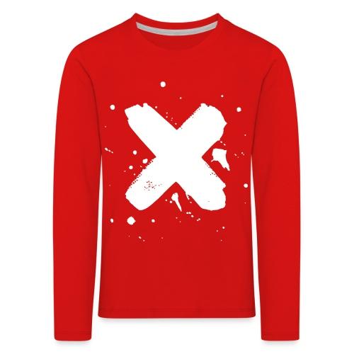 X valkoinen - Lasten premium pitkähihainen t-paita