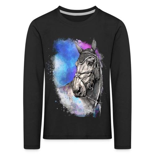 KOŃ GŁOWA akwarela z koniem horse - Koszulka dziecięca Premium z długim rękawem