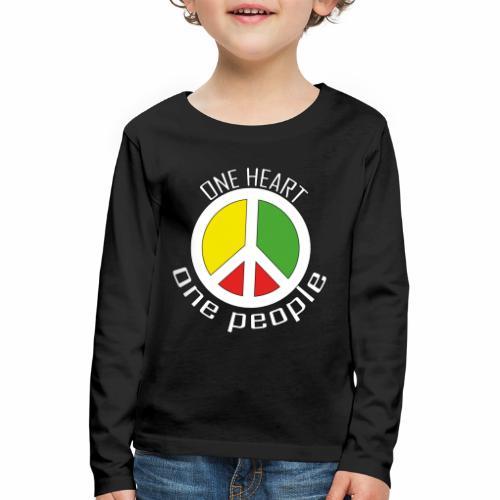 One Heart, One People - Peace - rot, gelb, grün - Kinder Premium Langarmshirt