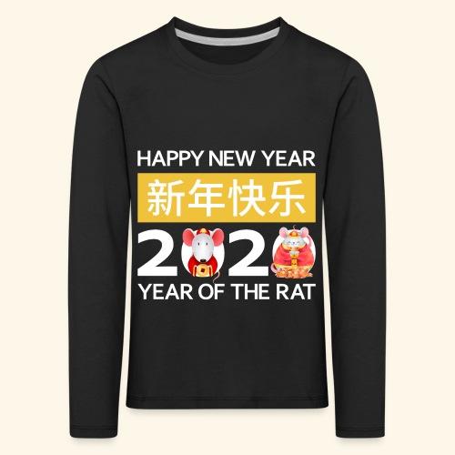 Happy New Year 2020 China Neujahr Horoskop Ratte - Kinder Premium Langarmshirt