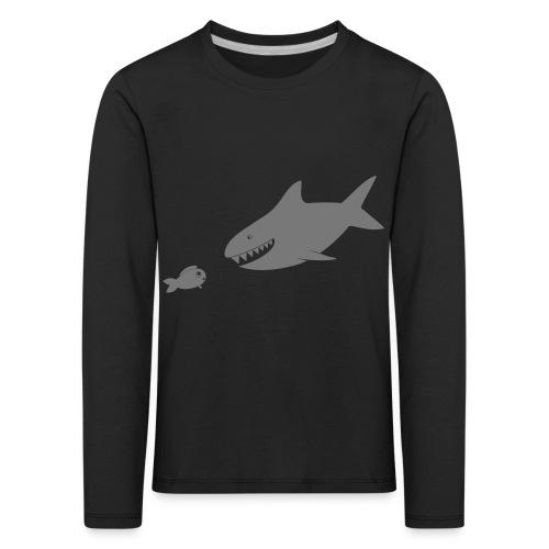 Kleiner Fisch + Hai / dunkler Hintergrund - Kinder Premium Langarmshirt