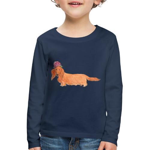 dachshund with flower - Børne premium T-shirt med lange ærmer