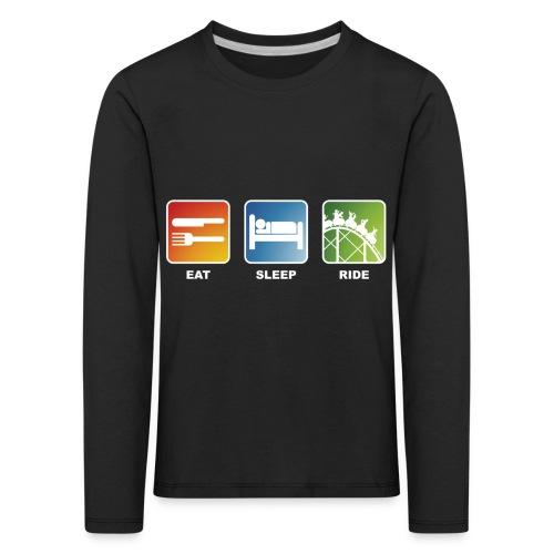 Eat, Sleep, Ride! - T-Shirt Schwarz - Kinder Premium Langarmshirt