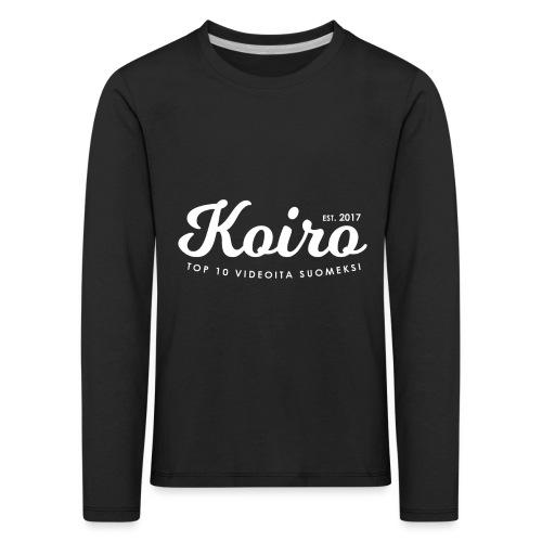 Koiro - Valkoinen Teksti - Lasten premium pitkähihainen t-paita