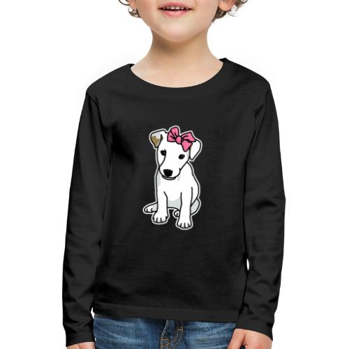 Jack Russell mit Schleife, Comic, Hund, süß - Kinder Premium Langarmshirt