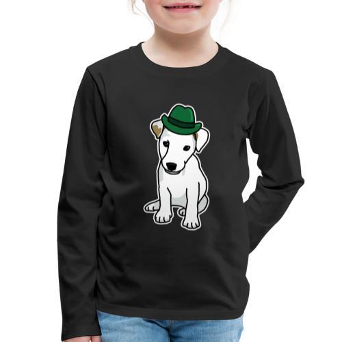 Jack Russell mit Hut, Hund, Comic, lustig, süß - Kinder Premium Langarmshirt